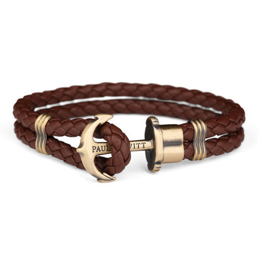 PAUL HEWITT Leather Phrep Anchor Bracelet Brass Brown